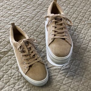 H&M TAN SUEDE SNEAKERS SIZE 9.5